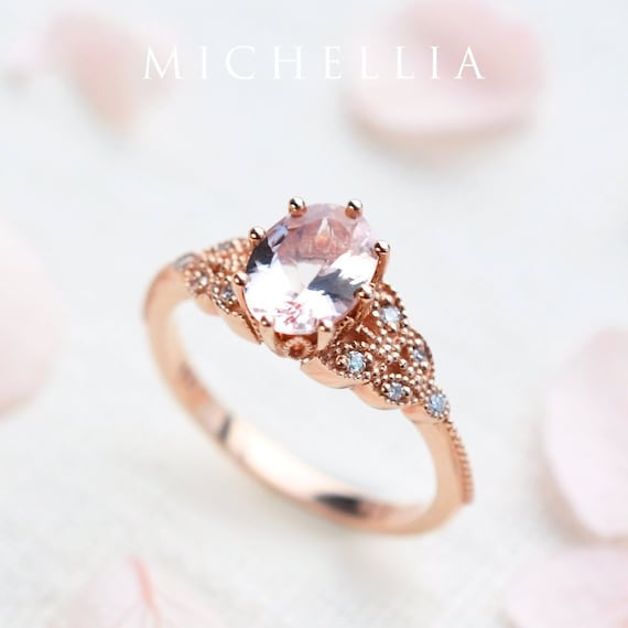 Morganite Ring Classic In Etsy Floral Oval q7ZZwzI