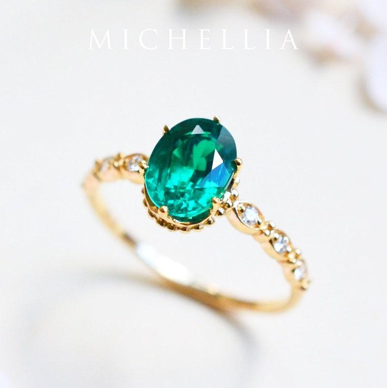 Evelina Emerald Engagement Ring Vintage Crown Lab Emerald image 1
