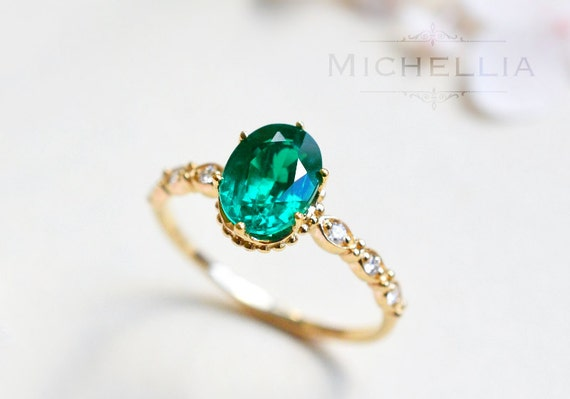 Vintage Inspirierte Oval Ring Lab Smaragd Smaragd Oval Etsy