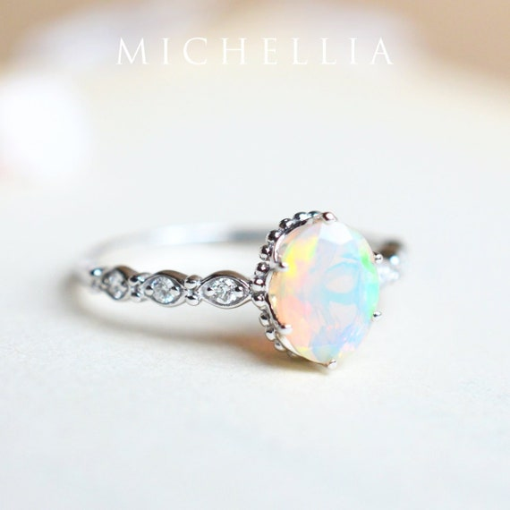 Evelina Opal Engagement Ring, Vintage Crown Oval Opal Ring, Art Deco Opal  Oval Engagement Ring, Rose Gold White Gold Platinum Opal Ring