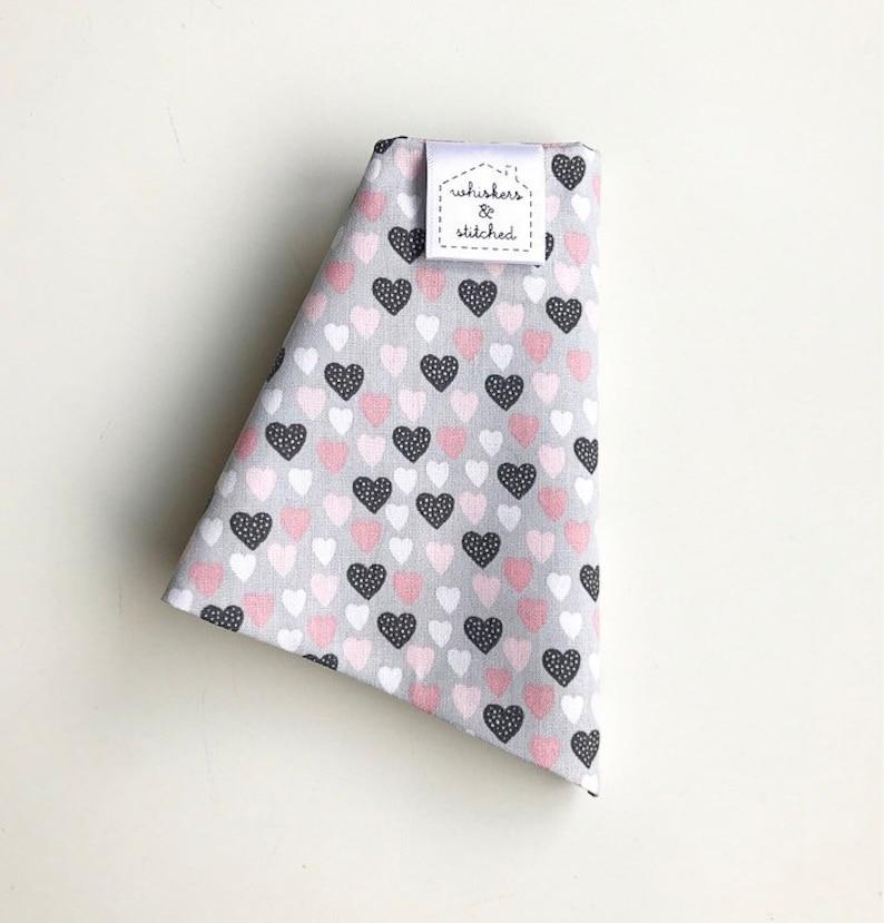 Pink /& Grey Heart Print Bandana