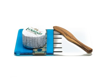 Turquoise White and Silver Cheese Plate  - 7042