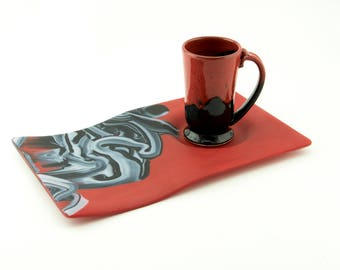 Red Black & White Breakfast in Bed Tray - New Couples Gift - Snack Tray - Soup and Sandwich Tray - Chip and Dip - Gift Ideas for MenSN1113