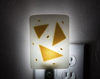 Silver and White Night Light - Glass Shade Plug In Night Light - Light Sensing Automatic LED Bulb Nighlight - Adult Night Light - 3916