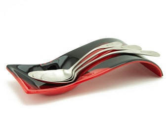 Red and Black Red Kitchen Glass Spoon Rest - Kitchen Decor - Special Chef Gift - 5669