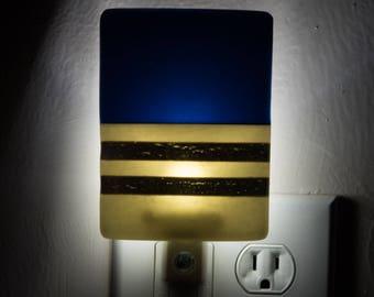 Navy Blue White & Silver Plug In Night Light - Light Sensing LED Bulb Nighlight - Adult Lighting - 3884