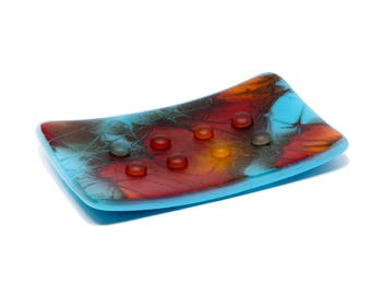 Eclectic Bathroom Soap Dish - Blue Orange Bathroom and Kitchen Soap Holder - Sponge Holder - Frosted Glass - 2027