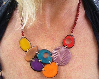 Tagua Nut Necklace, Chunky Necklaces, Tagua Nut Jewelry, Seed Bead Necklace, Chirilla Seed Statement Necklace, Nut Necklace,Beaded Necklaces