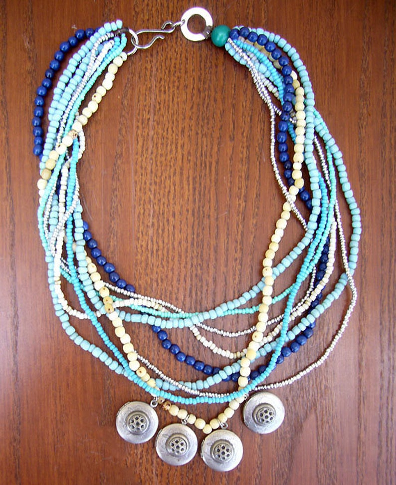 Silver Locket Necklace Bohemian Chic Necklace Seed Jewelry Free Shipping Tribal Colombian Statement Necklace Multi Strand Bead Necklace