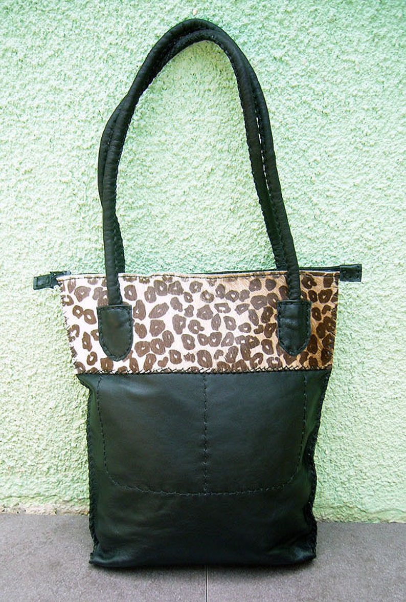 Free Shipping Tote Bag Black Leather Shoulder Bag Ethnic  d1781e037a83