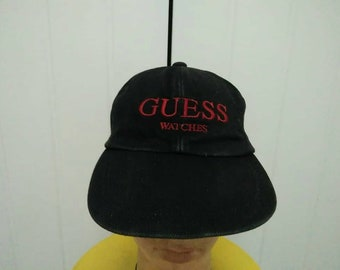 Rare Vintage GUESS WATCHES Embroidered Spell Out Cap Hat Free Size Fit All 0d79edbe9f46