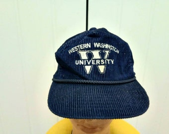 2c7c3ee3ef1 Rare Vintage WESTERN WASHINGTON UNIVERSITY Embroidered Spell Out Corduroy Cap  Hat Free Size Fit All