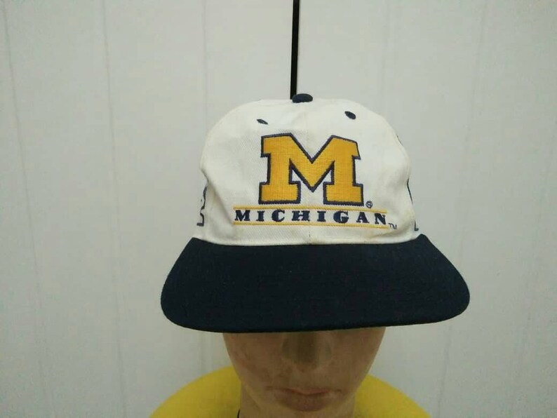 845540c6 Rare Vintage MICHIGAN WOLVERINES Big Logo Spell Out Cao Hat Free Size Fit  All