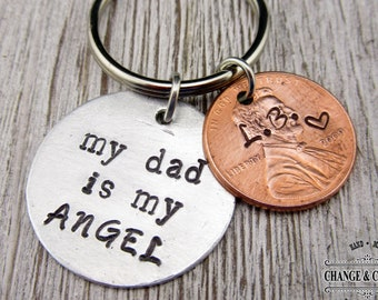 Custom My Dad is my Angel Keychain, Custom Penny Keychain, Keychain, Dad Keychain, Dad Gift, Fathers Day, Personalized Gift, Lucky Penny