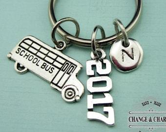 2017 School Bus Keychain, Teacher Keychain,Teacher Gift,School Bus Keychain,2017 Keychain,Custom Keychain,Personalized,Initial Charm,COT,CTR