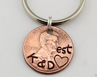 Custom Penny Keychain, Initial Keychain, Anniversary Gift, Lucky Penny, Penny Keychain, Personalized, Gift for Men, Gift for Boyfriend,Lucky