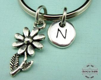 Flower Keychain, Flower Charm, Flower, Silver Plated Initial Charm, Custom Keychain, Personalized Gift, Keychain, Monogram, Charm Keychain