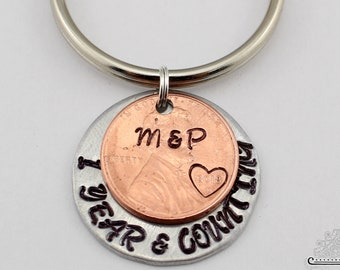 1 Year and Counting Penny Keychain, Custom Penny Keychain, 1 year anniversary, Anniversary Gift, Lucky Penny Keychain, Personalized Gift