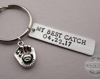 My Best Catch Mitt Keychain, Hand Stamped Custom Keychain, Gift for Husband, Gift for Boyfriend, Anniversary Gift, Custom Keychain, Baseball