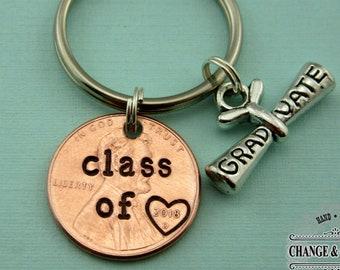Class of 2018 Graduate Penny Keychain, Graduate Penny Keychain, Penny Keychain, Graduation Gift, Diploma Keychain, Custom Keychain, CSY020