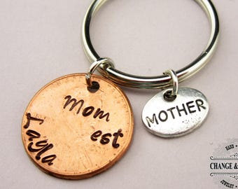 Mom Penny Keychain, Mom Keychain, Mother Keychain, Mother's Day Gift, Mom Gift, Charm Keychain, Personalized Gift, Custom Keychain, CTX019