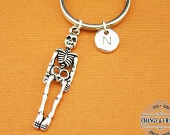 Skeleton Keychain, Skeleton, Skull Keychain, Halloween Keychain, Halloween, Charm Keychain, Custom Keychain, Initial Charm, Monogram, CHW006