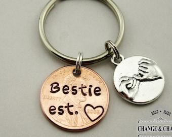 Bestie Est. Penny Keychain with Pinky Promise, Bestie Keychain, Penny Keychain, BFF Gift, Charm Keychain, Custom Keychain, Personalized