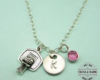 Custom Basketball Charm Necklace, Basketball Necklace, Basketball Charm,Charm Necklace,Sports Jewelry,Sterling Silver,Monogram,Custom,CSP004