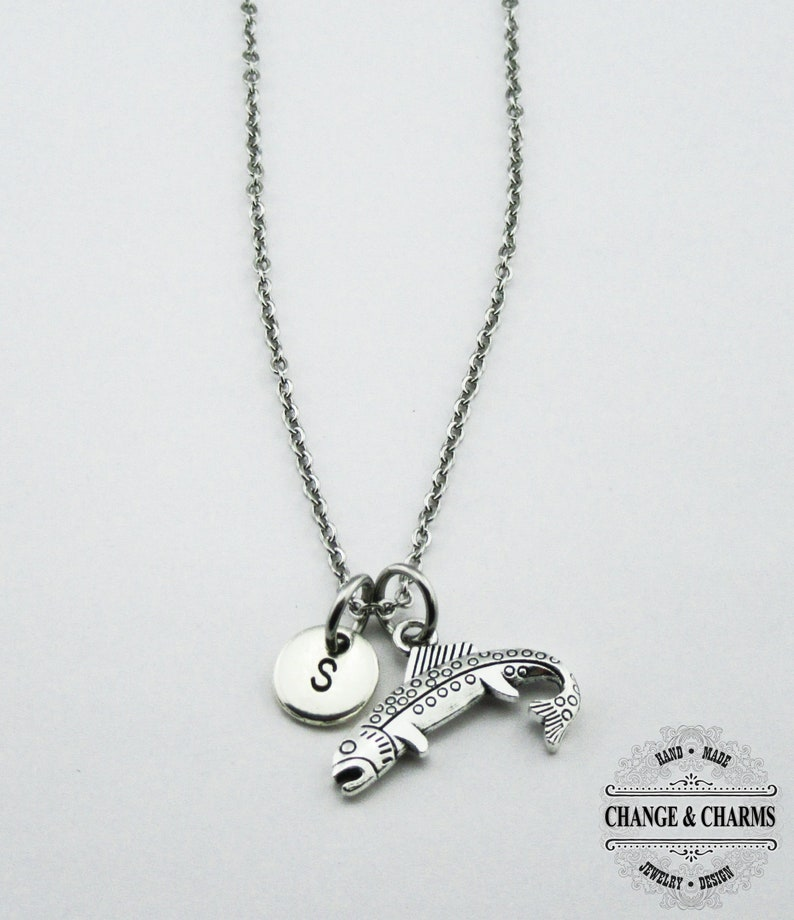 Stainless Steel Necklace Charm Necklace Initial Charm,Personalized Gift Monogram Fishing Bass Necklace Bass Charm Fish Custom Gift