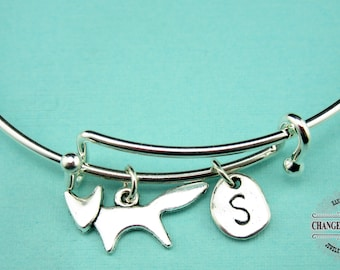 Fox Bangle, Fox Bracelet, Fox Charm, Initial Charm, Silver Plated, Charm Bracelet, Personalized Bangle, Animal Bracelet, Monogram, CAN022