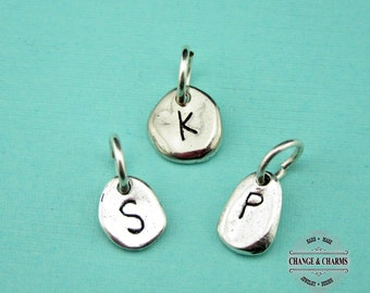 Add Initial Charm, Silver Plated Pebble Charm, Initial Charm, Personalized