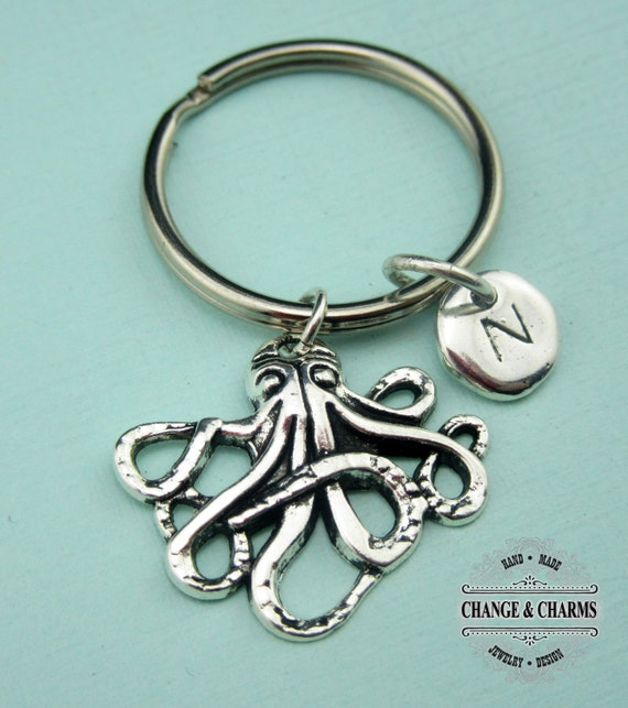 Personalised Gift Silver Octopus Charm Keyring Choose your Charms