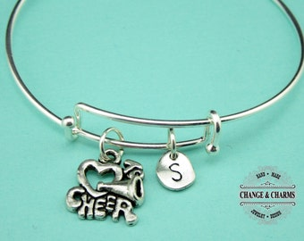 Love to Cheer Bangle, Cheerleader Bangle, Cheerleader, Silver Plated Bangle, Jewelry, Personalized, Initial Charm, Charm Bracelet, Gift,