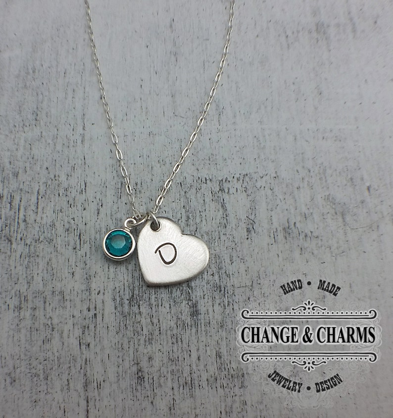 c36851264c3b0 Custom Heart Initial Necklace with Birthstone Charm, Bridesmaid Gift, Charm  Necklace, Sterling Silver Necklace, Initial Necklace