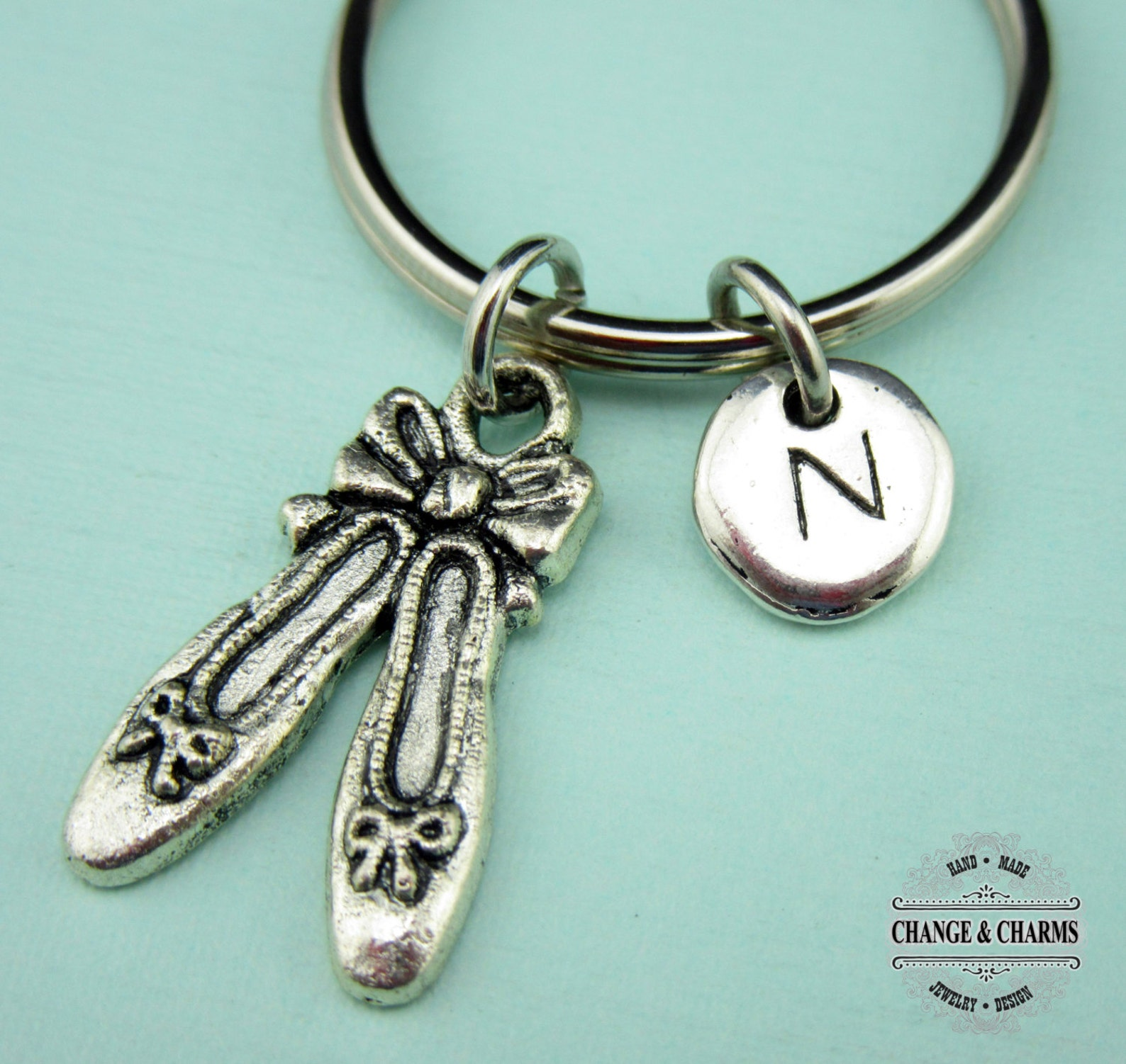 ballet keychain, ballet charm, ballet shoes, ballet, custom keychain, personalized gift, silver plated initial charm, keychain,