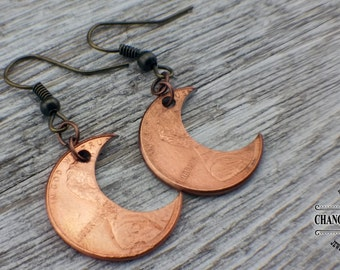 Penny Moon Earrings, Penny Earrings, Birthday Gift