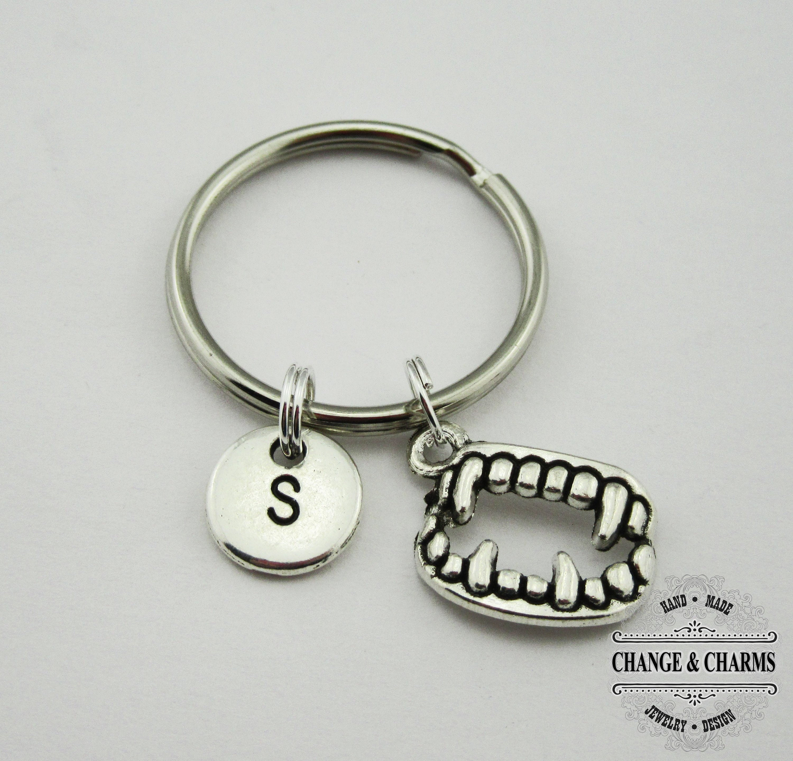 vampire keychain fang resin keychain charm with keyring
