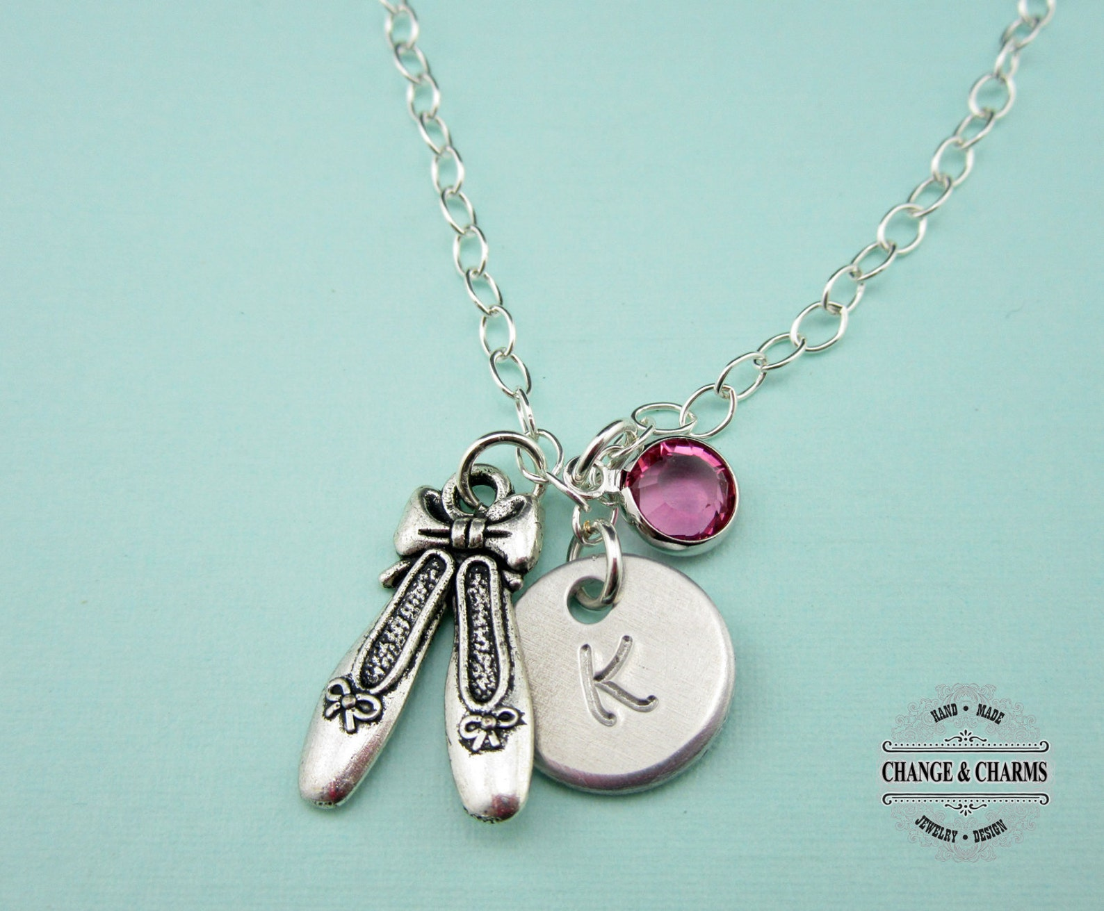 custom ballet shoe initial birthstone charm necklace, ballet, ballet shoes,ballet necklace,sterling silver necklace,ballet shoe