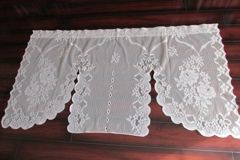 Kitchen Curtains 3 Panel Small Window Scalloped Curtain Sheer Curtains White Lace Valence Vintage Lace Curtains Floral Lace Fabric