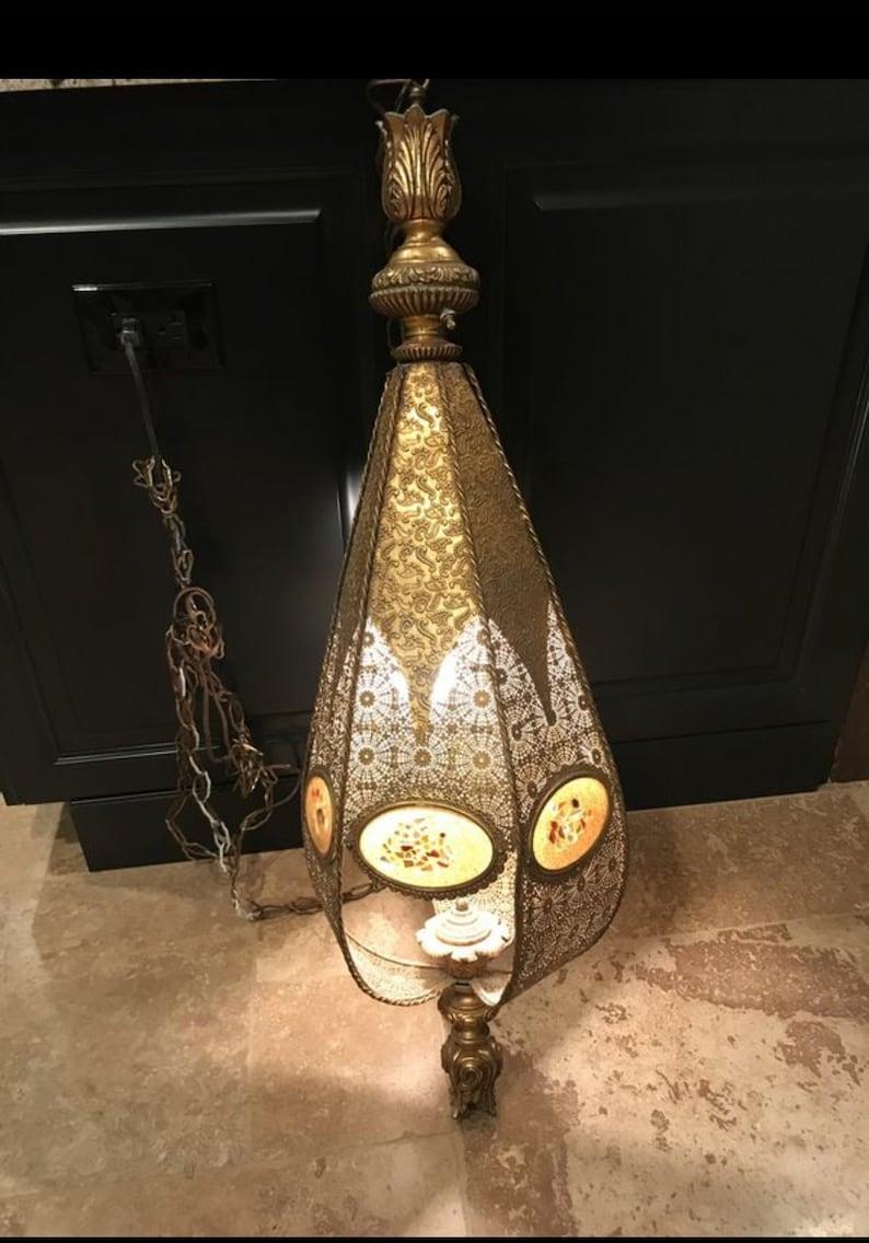 Vintage mid century swag lamp vintage hanging pendant light bohemian style hanging lamp moroccan chandelier big gold brass ceiling light