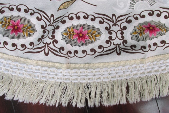 70 Inch Round Table Cloth.Vintage Round Pink Floral Lace Fringe Table Cloth 70 Inch Round Tablecloth Vintage Kitchen Decor Big Ornate Table Cloth With Lace Trim