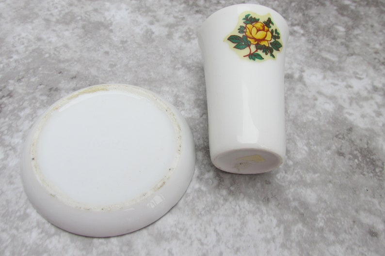 Tiny Vintage Trinket Vanity Dish and Shot Glass Toothpick Holder Small Yellow Rose Pattern Dishes Vintage Kitchen or Bathroom Decor