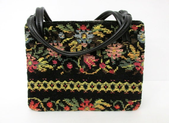 Vintage Black Crochet Floral Purse