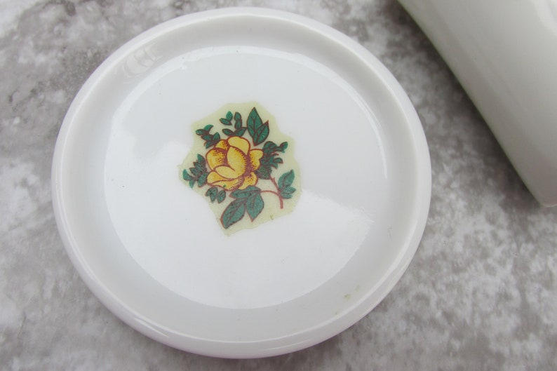 Small Yellow Rose Pattern Dishes Tiny Vintage Trinket Vanity Dish and Shot Glass Toothpick Holder Vintage Kitchen or Bathroom Decor