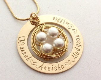Gold Family Nest Hand Stamped Engraved Personalised Name Necklace Pendant 4 pearls