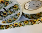 SUNFLOWER GARLAND MT Autumn Floral Washi Tape - 1 Roll or Sample For Planning, Scrapbooking Art Travel Bullet Journaling and Mixed Media