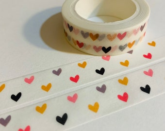 TRI-COLORED HEARTS Rose Gold Foil Embossed With Watercolor Background Washi Tape ~ 1 Roll ~ 10mm x 10m 33 Feet