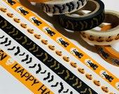 BATS HAUNTED HOUSES Happy Halloween Washi Tapes 5 Rolls 10mm x 5m (16 Feet) Each