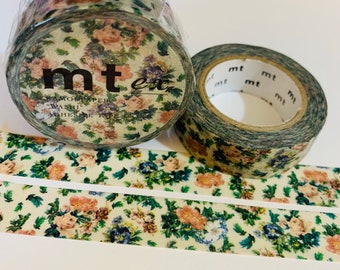 Shabby chic washi tape samples blue and pink rose decorative paper tape 15mm Japanese masking tape