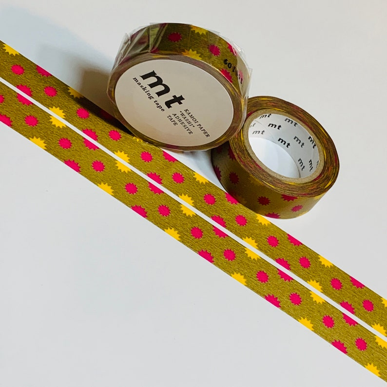 GOLD SUN SPOTS Explosion Mt Washi Tape ~ 1 Roll ~ 15mm x 10m 33 Feet
